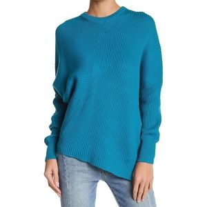 Free People Teal Asymmetrical Ribbed Sweater